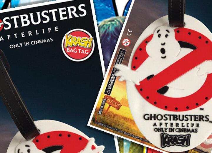 Etichetta bagaglio in stile Ghostbusters: Afterlife su magazine australiano per teenager