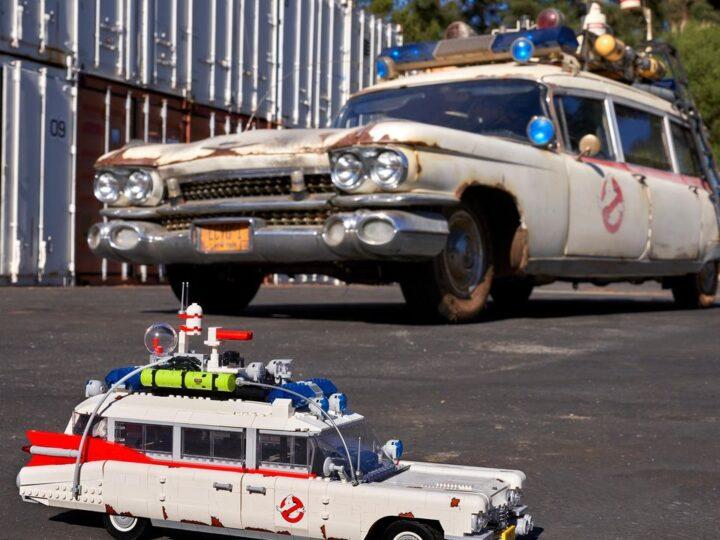 Foto della Ecto-1 originale di Ghostbusters: Afterlife per il lancio del set LEGO